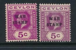 CEYLON, 1918 WAR TAX 5c Bright Magenta And 5c Purple Light MM, SG335, 336 - Ceylon (...-1947)