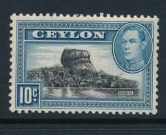CEYLON, 1938 10c Wmk Sideways Light MM - Ceylon (...-1947)