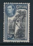 CEYLON, 1938 20c Light MM - Ceylon (...-1947)