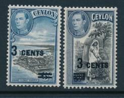 CEYLON, 1940 3c On 6c And 3c On 20c  Light MM, Cat £8 - Ceylon (...-1947)