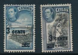 CEYLON, 1940 3c On 6c And 3c On 20c VFU - Ceylon (...-1947)