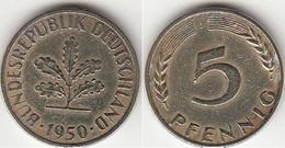 Germania 5 Pfennig 1950J KM#107 - Used - [ 7] 1949-… : RFA - Rep. Fed. Tedesca