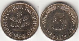 Germania 5 Pfennig 1988D KM#107 - Used - [ 7] 1949-… : RFA - Rep. Fed. Tedesca