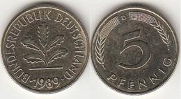 Germania 5 Pfennig 1989D KM#107 - Used - [ 7] 1949-… : RFA - Rep. Fed. Tedesca