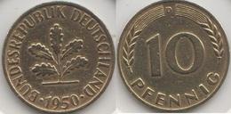 Germania 10 Pfennig 1950 D Km#108 - Used - [ 7] 1949-… : RFA - Rep. Fed. Tedesca