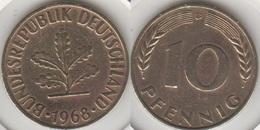 Germania 10 Pfennig 1968 D Km#108 - Used - [ 7] 1949-… : RFA - Rep. Fed. Tedesca