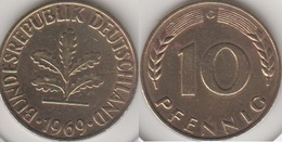Germania 10 Pfennig 1969 G Km#108 - Used - [ 7] 1949-… : RFA - Rep. Fed. Tedesca