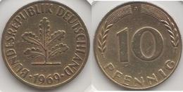 Germania 10 Pfennig 1969 J Km#108 - Used - [ 7] 1949-… : RFA - Rep. Fed. Tedesca