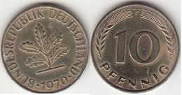 Germania 10 Pfennig 1970 F Km#108 - Used - [ 7] 1949-… : RFA - Rep. Fed. Tedesca