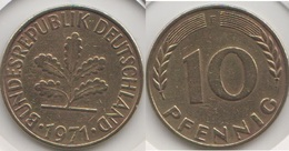 Germania 10 Pfennig 1971 F Km#108 - Used - [ 7] 1949-… : RFA - Rep. Fed. Tedesca