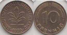 Germania 10 Pfennig 1976 D Km#108 - Used - [ 7] 1949-… : RFA - Rep. Fed. Tedesca