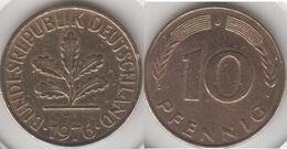 Germania 10 Pfennig 1976 J Km#108 - Used - [ 7] 1949-… : RFA - Rep. Fed. Tedesca