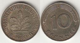 Germania 10 Pfennig 1980 J Km#108 - Used - [ 7] 1949-… : RFA - Rep. Fed. Tedesca