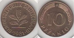 Germania 10 Pfennig 1981 G Km#108 - Used - [ 7] 1949-… : RFA - Rep. Fed. Tedesca