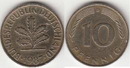 Germania 10 Pfennig 1987 D Km#108 - Used - [ 7] 1949-… : RFA - Rep. Fed. Tedesca