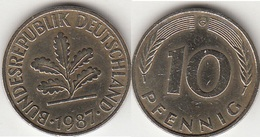 Germania 10 Pfennig 1987 G Km#108 - Used - [ 7] 1949-… : RFA - Rep. Fed. Tedesca