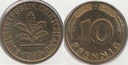 Germania 10 Pfennig 1989 D Km#108 - Used - [ 7] 1949-… : RFA - Rep. Fed. Tedesca