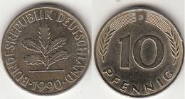 Germania 10 Pfennig 1990 D Km#108 - Used - [ 7] 1949-… : RFA - Rep. Fed. Tedesca