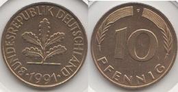 Germania 10 Pfennig 1991 F Km#108 - Used - [ 7] 1949-… : RFA - Rep. Fed. Tedesca