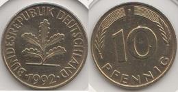 Germania 10 Pfennig 1992 F Km#108 - Used - [ 7] 1949-… : RFA - Rep. Fed. Tedesca