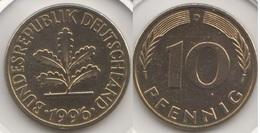 Germania 10 Pfennig 1996 D Km#108 - Used - [ 7] 1949-… : RFA - Rep. Fed. Tedesca