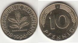 Germania 10 Pfennig 1996 J Km#108 - Used - [ 7] 1949-… : RFA - Rep. Fed. Tedesca