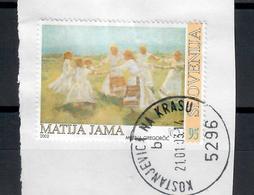 SLOVENIA  2002 - 130° ANNIVERSARIO  NASCITA DI MATIJA  JAMA  - USATO SU FRAMMENTO - Slovenia