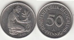 Germania 50 Pfennig 1990 A KM#109.2 - Used - [ 7] 1949-… : RFA - Rep. Fed. Tedesca