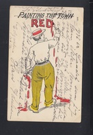 USA PC Painting The Town Red 1906 - Humor