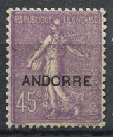 Andorra Francese 1931 Mi. 12 Nuovo * 100% Soprastampato 45 C, ANDORRE - Nuovi