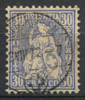 Svizzera 1867 Mi. 33 Usato 100% Helvetia Seduto, 30 C - 1862-1881 Helvetia Seduta (dentellati)