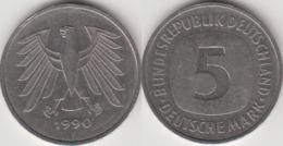 Germania 5 Mark 1990 F KM#140.1 - Used - [ 7] 1949-… : RFA - Rep. Fed. Tedesca