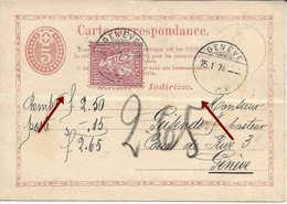 1874, Genève, Entier Postal + Helvétie 10 Centimes, Remboursement Nachnahme, SUISSE - Briefe U. Dokumente