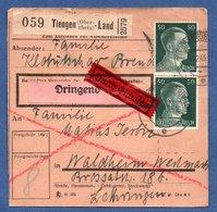 Colis Postal  -  Départ Tiengen-Land-  10/12/1943  - Petite Déchirure  à 6 Heures - Germania