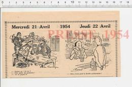 2 Scans 1954 Humour Caravaning Caravane Jeu De Cartes Poker Exposition Automoblile Simca Citroën Renault Dyna 223XD - Vieux Papiers
