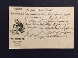 """1888, Publicité Illustrée Chocolat Suchard """"enfants Et Tasse De Chocolat"""" Entier Postal, Bienne Pour Berne - Enteros Postales"""