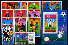 E08465)Fussball-WM 1978 Nordkorea 1733/44** + Bl 49** - Fußball-Weltmeisterschaft