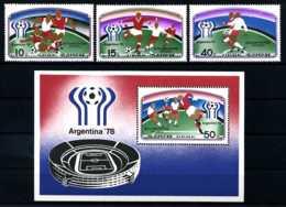 E08471)Fussball-WM 1978 Nordkorea 1676/8** + Bl 41** - Fußball-Weltmeisterschaft
