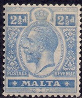 Malta 1921 - 22 KGV 2 1/2d Bright Blue MM  SG 101 ( H1449 ) - Malta (...-1964)