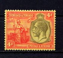 TRINIDAD  AND  TOBAGO    1922    4d  Black  Red  /  Pale  Yellow    MH - Trinidad & Tobago (...-1961)
