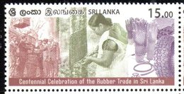 SRI LANKA , 2018, MNH, RUBBER INDUSTRY, 100th ANNIVERSARY OF RUBBER TRADE IN SRI LANKA, TREES, GLOVES,  CAR TYRES, 1v - Factories & Industries