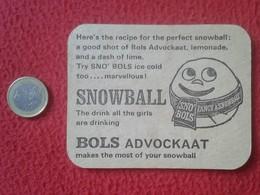 POSAVASOS COASTER MAT EN CARTÓN DURO O SIMILAR SNOWBALL SNO BOLS ICE COLD ADVOCKAAT HOLANDA HELADO ? HOLLAND VER FOTO/S - Portavasos