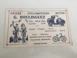 Buvard Ancien CYCLES CYCLOMOTEURS MOTOS G.BOULINGUEZ LENS PEUGEOT TERROT RHONSONNETTE BERTIN - Moto & Vélo