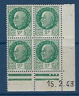"""FR Coins Datés YT 518 """" Pétain 2F00 Vert """" Neuf** Du 15.2.43 - Coins Datés"""