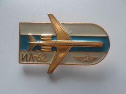 Original Vintage Metal PIN 1980 Years AEROFLOT USSR RUSSIA AIRPLANE IL-62 AVION - Avions