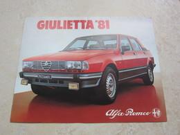 Dépliant Publicité ALFA ROMEO GIULETTA 1981 - Auto/Moto