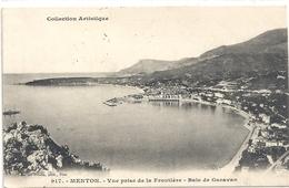 917. MENTON . VUE PRISE DE LA FRONTIERE . BAIE DE GARAVAN . AFFR AU VERSO LE 17-4-1905 . 2 SCANES - Menton