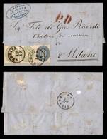 ANTICHI STATI - LOMBARDO VENETO - Bicolore - Coppia Del 3 Soldi (42) + 10 Soldi (44) - Lettera Da Venezia A Milano Del 1 - Francobolli