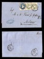 ANTICHI STATI - AUSTRIA TERRITORI ITALIANI - 3 Kreuzer (19) In Coppia + 15 Kreuzer (22) - Lettera Da Trieste A Milano De - Francobolli