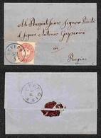 ANTICHI STATI - AUSTRIA TERRITORI ITALIANI - Levico (azzurro-P.ti 4) Su 5 Kreuzer (32) Lettera Per Pergine Del 30.12.65 - Francobolli